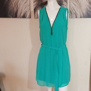 3/$24💟A BYER Mint Green Zip Down Belt Mini Dress